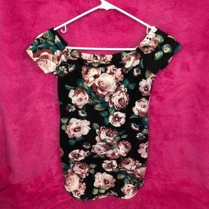 Off-the-shoulder Floral Bodycon Dress